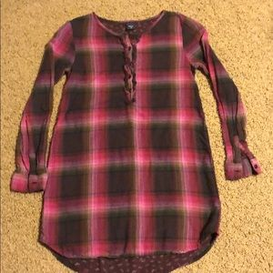 Gap Flannel Dress with Ruffled Button Up size 8
